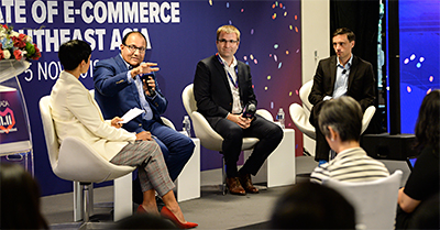 Members of the panel discussion included S. Iswaran, Minister for Communications & Information, Minister-in-Charge of Trade Relations; Pierre Poignant, Executive President, Lazada Group and Simon Baptist, Global Chief Economist, Managing Director, EIU Asia.