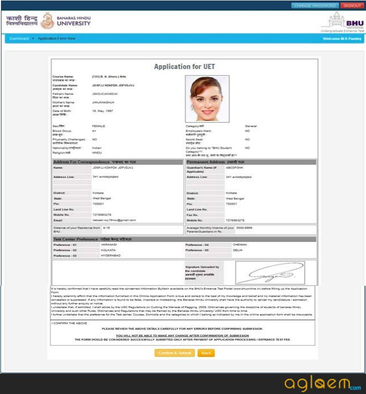 BHUE UET application form
