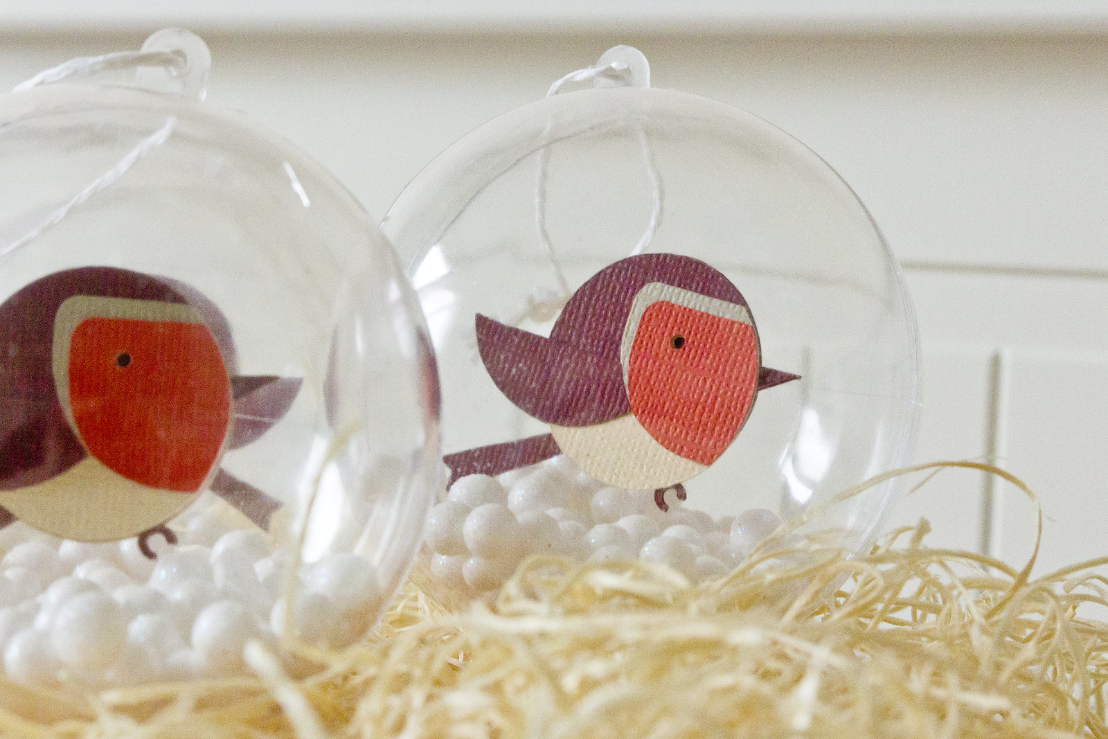 round robin red breast handmade ornaments