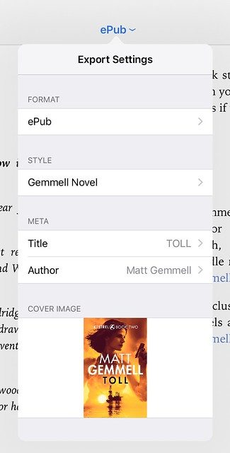 Ulysses ebook epub export popover