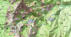 """Carte du Haut-Cavu avec l'ensemble du ruisseau du Finicione et le tracé du Castedducciu (""""Chemin de la Montagne aux Plages"""" ) par la RD et sa variante par la RG"""