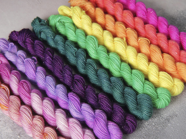 Merino blend Sparkle mini-skeins neon shades sock/4 ply/fingering hand dyed yarn 10 x 10g (for Pomp and Poms shawl by Brixton Purl)