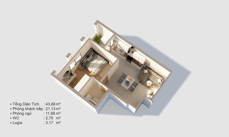 Thiết kế mẫu căn hộ Studio D-One 4
