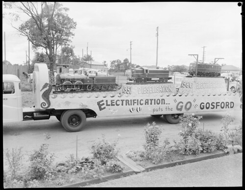 Float promoting Gosford rail electrification, view of Gosford side | by NSW State Archives and Records