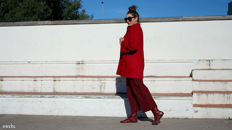 abrigo rojo de mujer MANGO