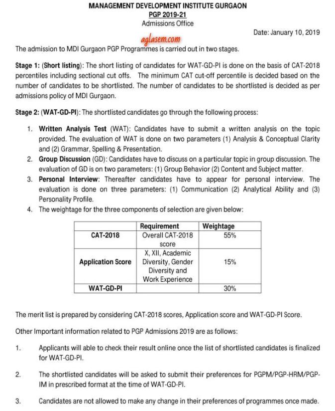 MDI PGP Selection Process