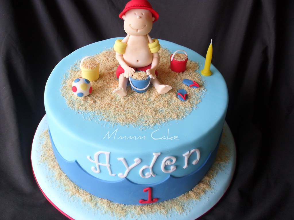 Beach Theme Cake Aydens 1st Birthday Cake Beach Theme Flickr