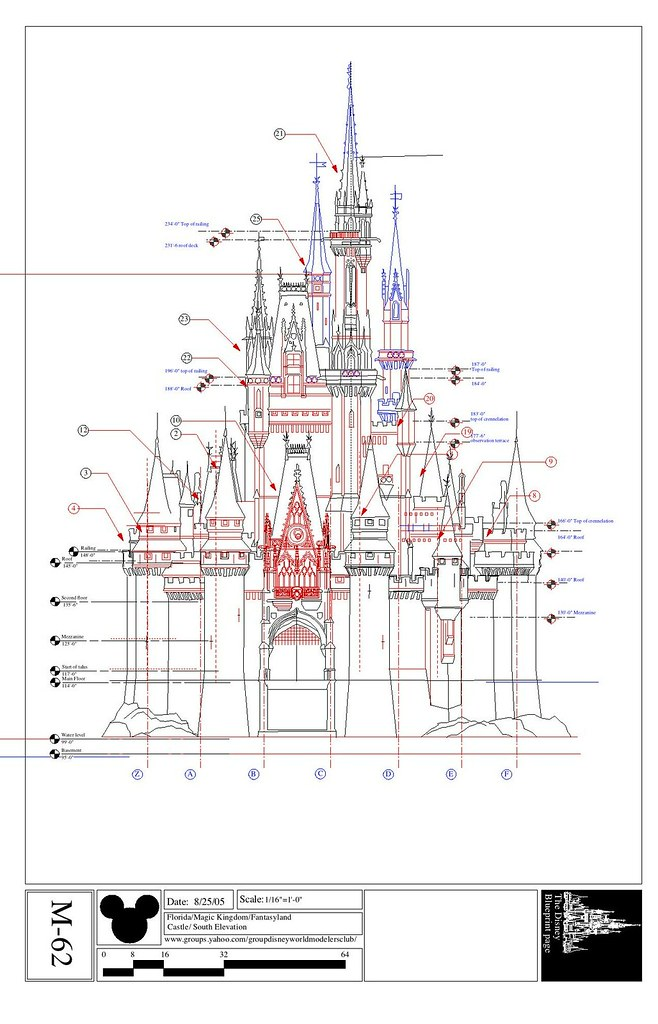 cinderella's castle south elevation | i've added some detail… | flickr