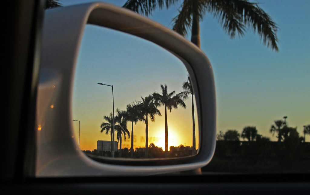 Sunset Palm Trees Through The Rearview Mirror 1347 Driving To West Beach Florida