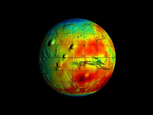 Mars Odyssey Epithermal Neutron Data overlayed on MGS/MOLA Topography Data | by NASA on The Commons