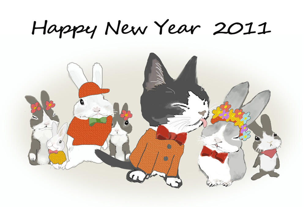 rabbit cat new year card by mojuni