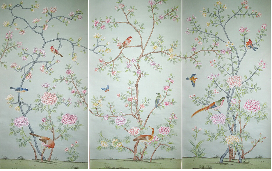 Griffin And Wong Hand Painted Silk Wallpaper Panels 2