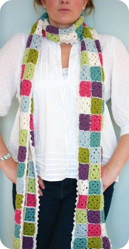 Granny Squares Crochet Scarf | by Stripey Mooka