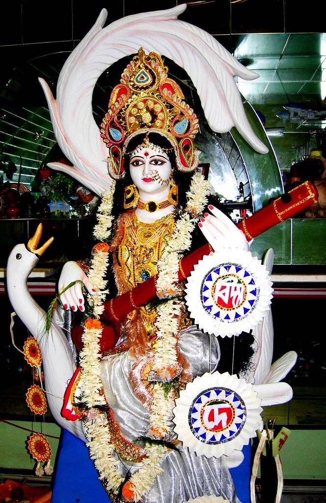 Image result for Goddess Saraswati idol celebration