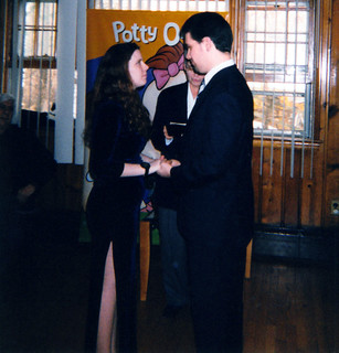 20000210 - Our Wedding - 3 - during wedding - 2 - Carolyn & Clint holding hands - Lowell & Vicky & Samhain off to sides vertical - A017 | by Rev. Xanatos Satanicos Bombasticos (ClintJCL)