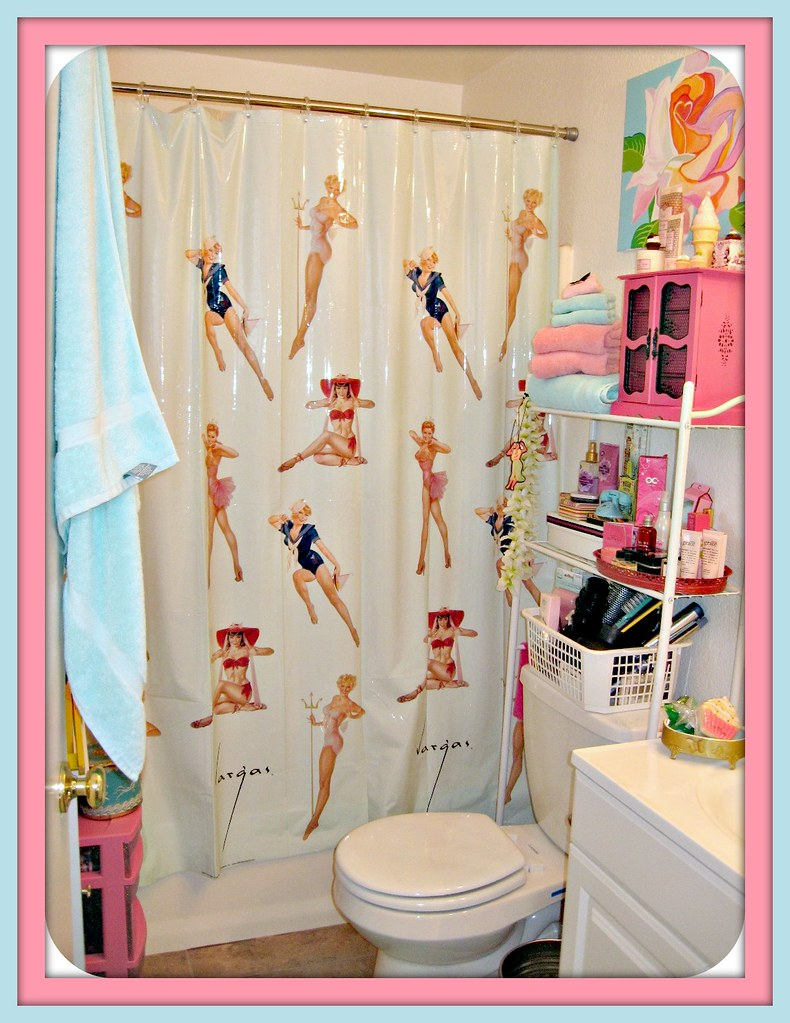Gigis Bathroom Vargas Pinup Shower Curtain