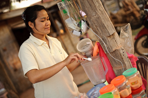 Lao Woman Making Smoothie | by goingslowly
