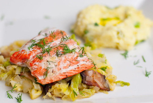 Roasted salmon with bacon & cabbage, and champ | by MissMopo