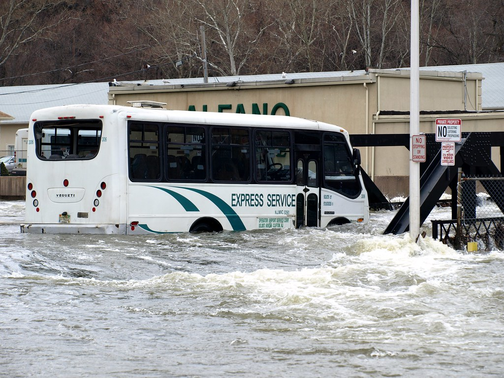 ... Flooded Jitney Bus, Alfano Island Bridge Over Passaic River, Paterson,  New Jersey |