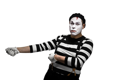 Mime pulling invisible rope Studio portraits for an