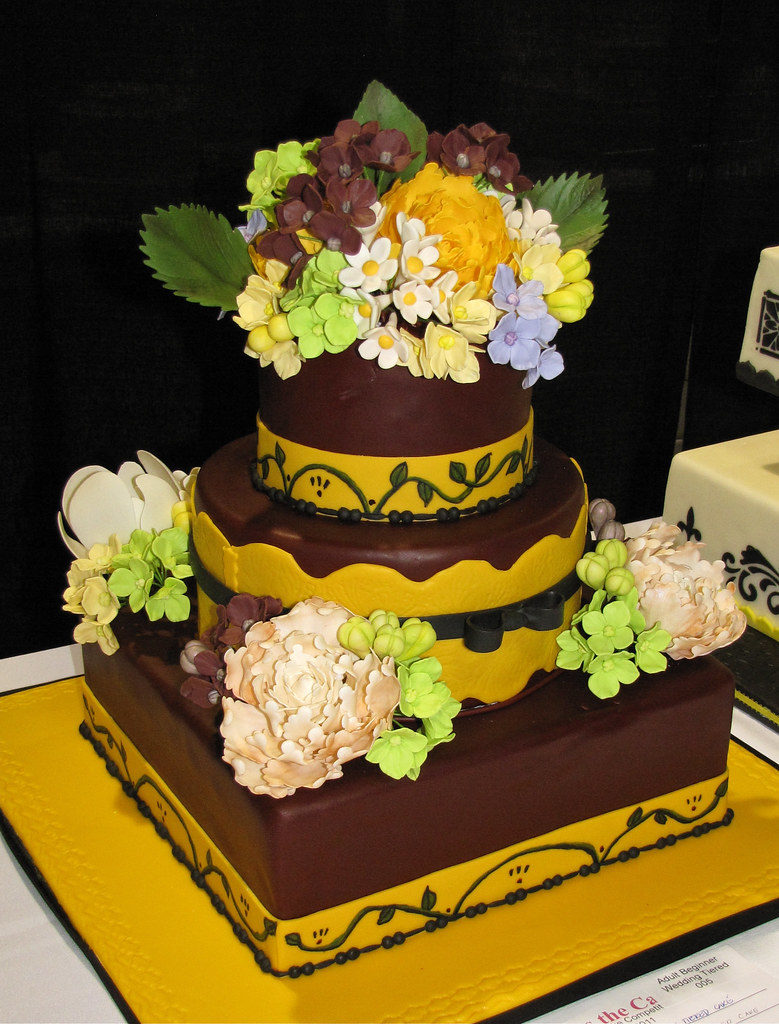 Burgundy Yellow Wedding Cake by Mildred Almon | Division: Ad… | Flickr