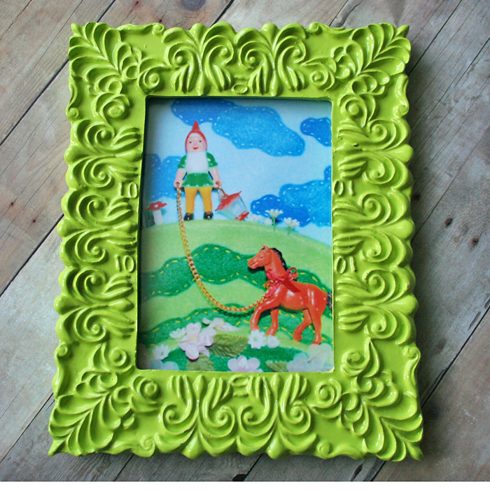Gnome & Pony print in Lime Green Orante Frame | Just listed … | Flickr