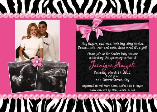 Black white zebra print hot pink multi photo baby shower flickr black white zebra print hot pink multi photo baby shower invitations by filmwisefo