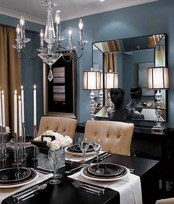 Formal blue gray dining room benjamin moore 39 cloudy sky for Black n white dining rooms