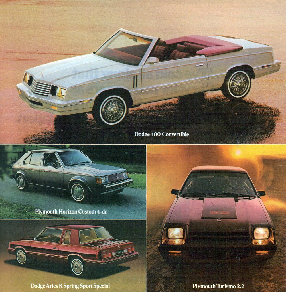 ... 1982 Chrysler Dodge 400 Convertible, K Aries Spring Sport Special  Coupe, Plymout Horizon 4