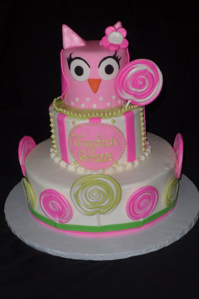 Owl And Lollipop Birthday Cake April Wallace Cakes Flickr