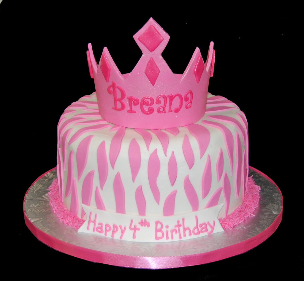 White And Pink Zebra Print Tiara 4th Birthday Cake Flickr