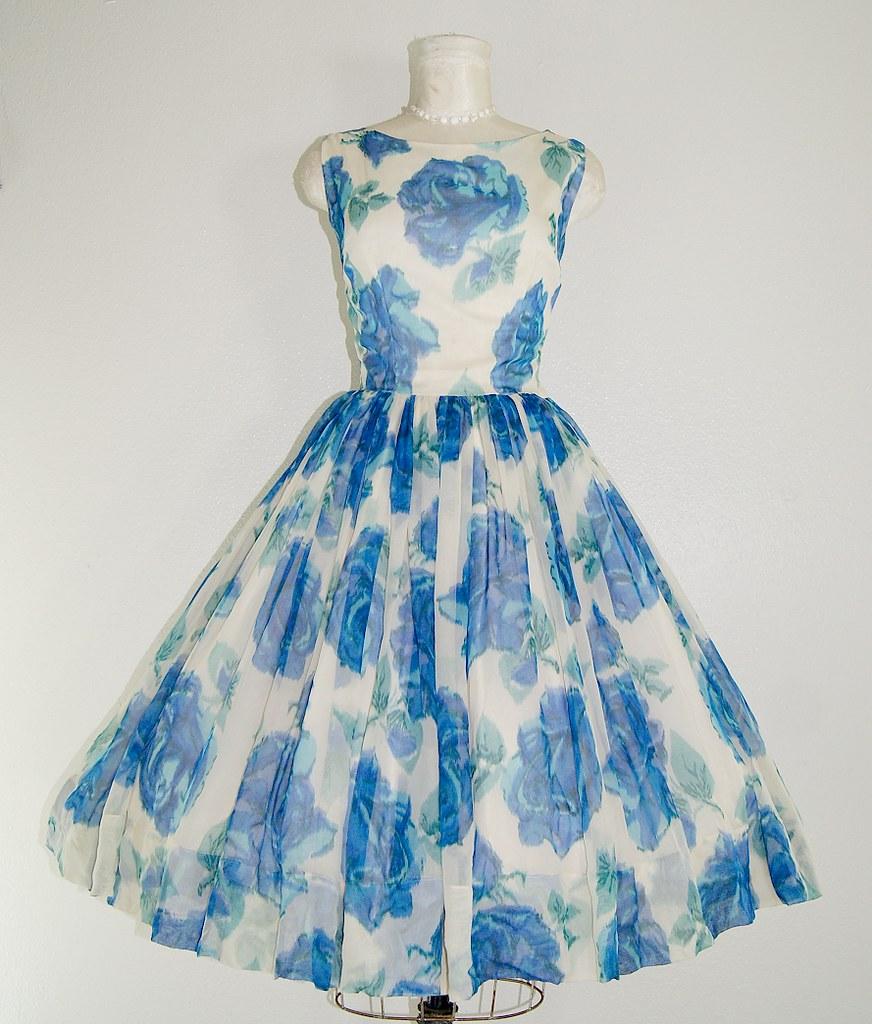 Dream Lover 1950s vintage rose Dress cerulean ice royal bl…   Flickr