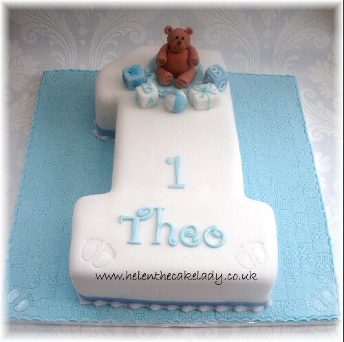 boys 1st birthday cake with teddy A simple but effective 1 Flickr