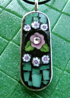Pink Spring Flowers Mosaic Pendant | by Kimscustomcaps