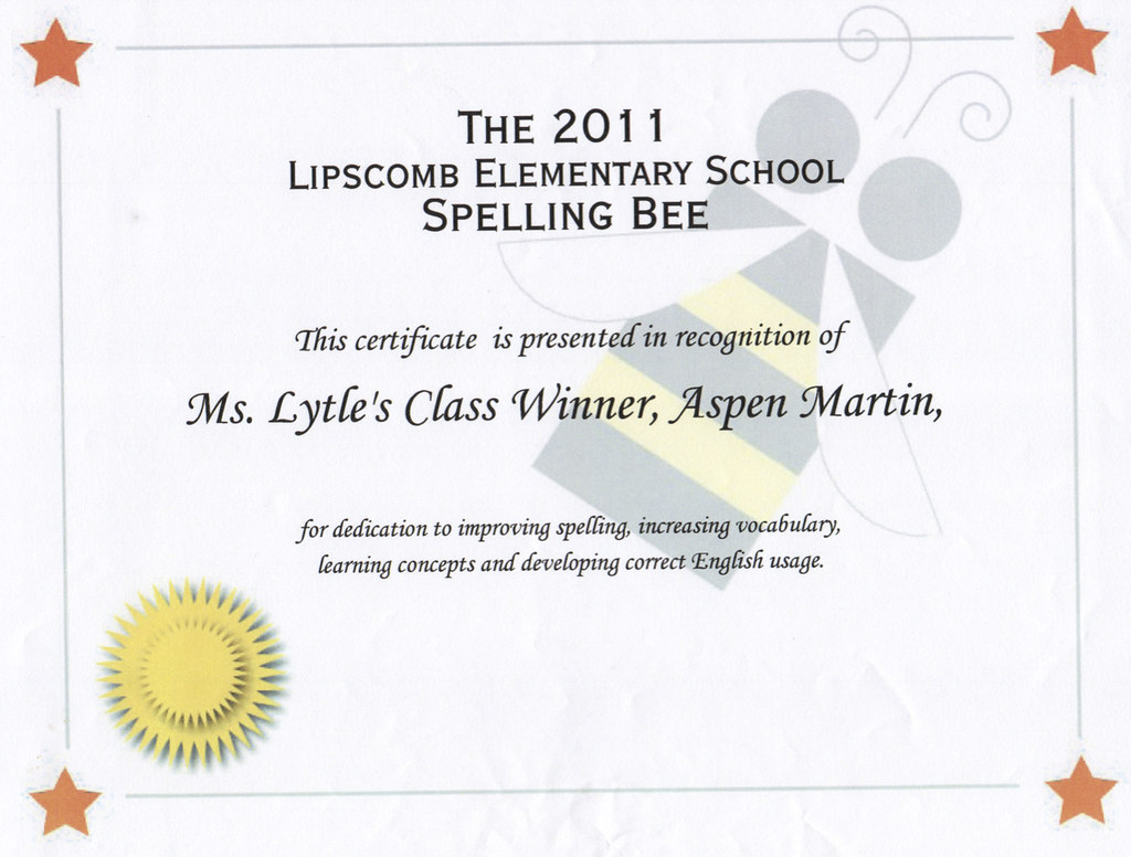 Spelling Bee Certificate 2011pdf 1 Page Tim Martin Flickr