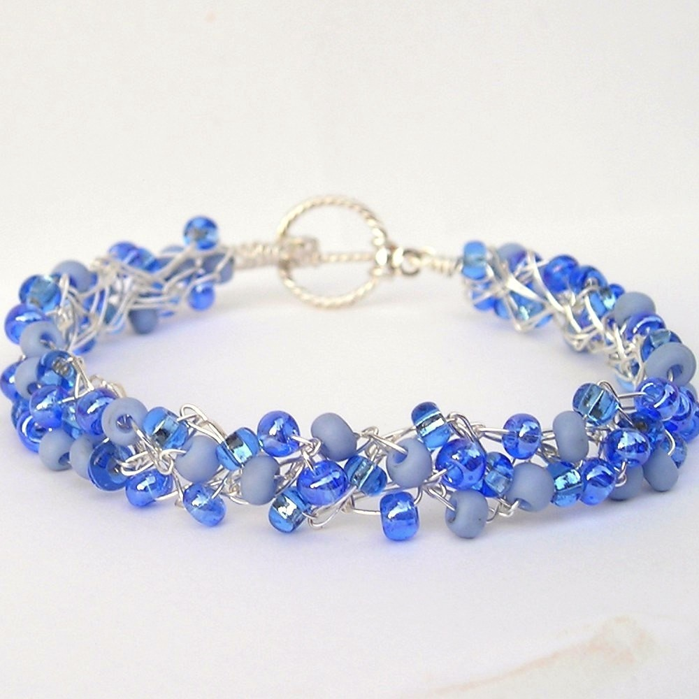 Crochet Wire Beaded Bracelet Periwinkle | I crocheted three … | Flickr