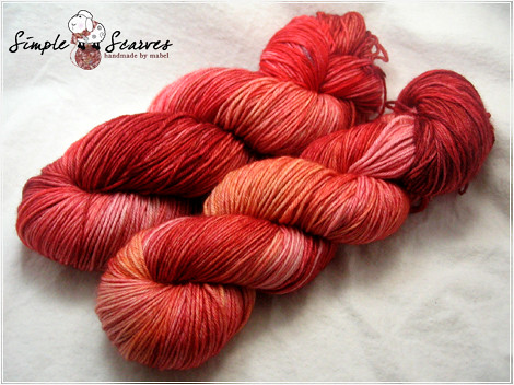 Handdyed Superwash MCN in Blood Orange | by meiteoh