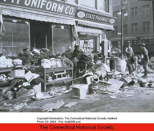 Flood Of 1936: Cleanup On Front Street, Hartford.