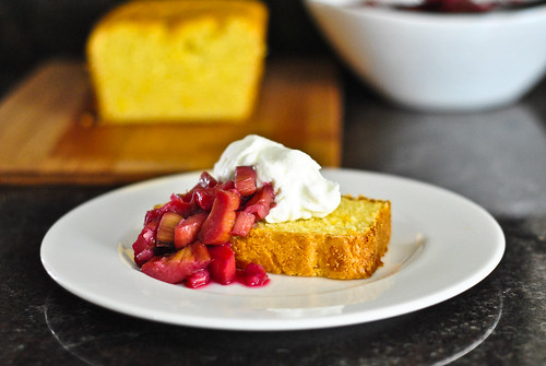 rhubarb cornmeal cake | by The Red Spoon