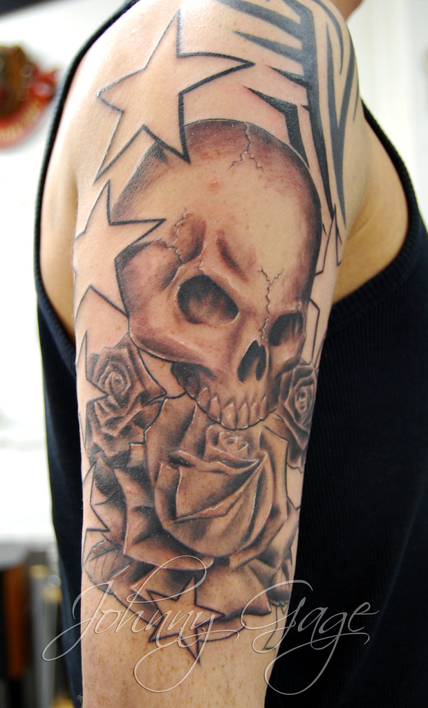 Skull Roses Stars And Tribal Tattoo Tattooed By Johnny At Flickr