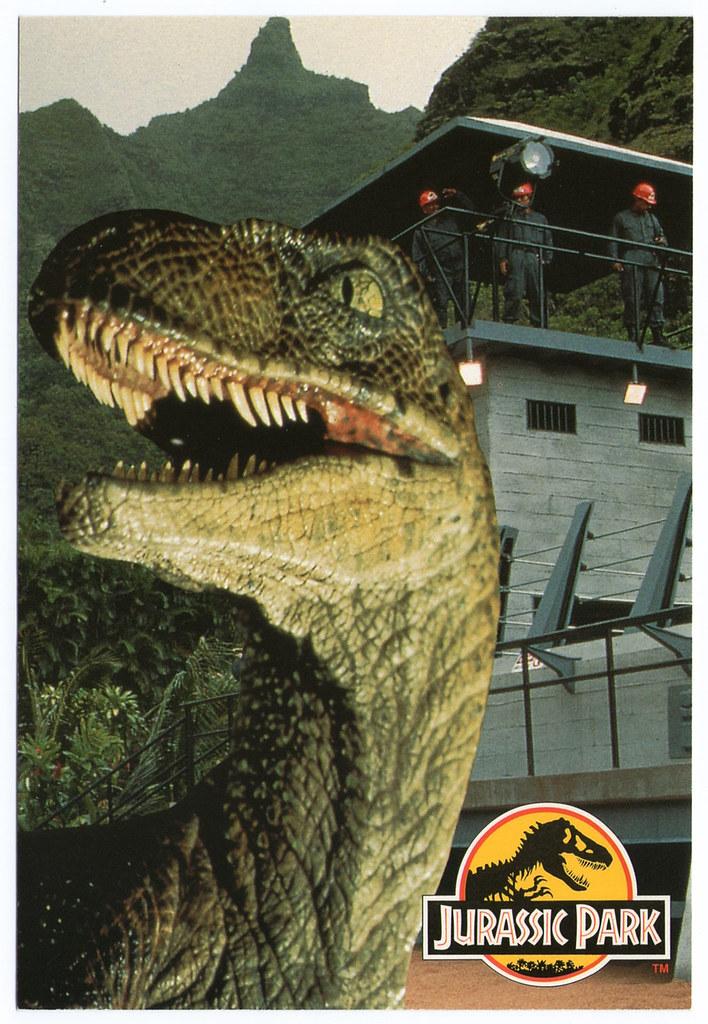 Jurassic Park raptor pen postcard