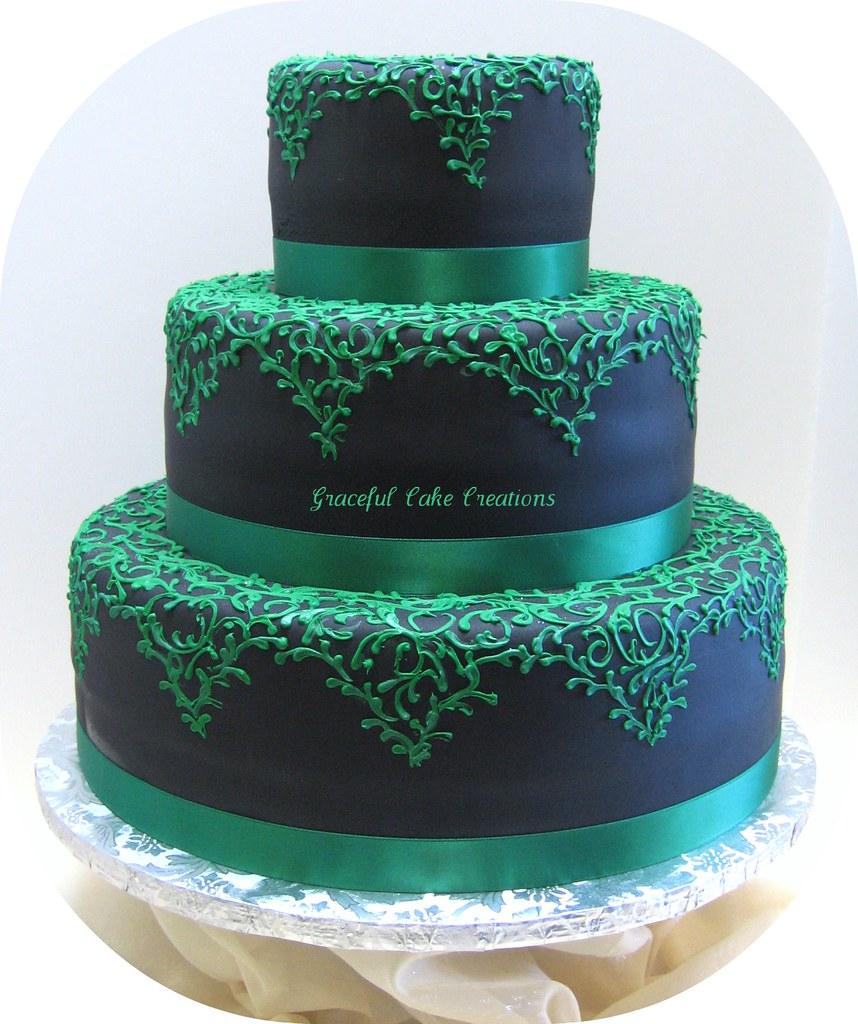Black Fondant Wedding Cake With Emerald Green Lace Design Flickr