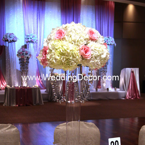 Wedding Centerpieces - hydrangea & pink roses | A tall pilsn… | Flickr