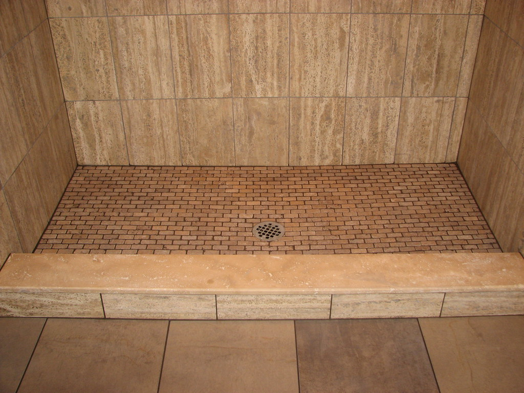 Travertine tile stall shower with marble sill and traverti flickr travertine tile stall shower with marble sill and travertine floor voorheesnj by dailygadgetfo Choice Image