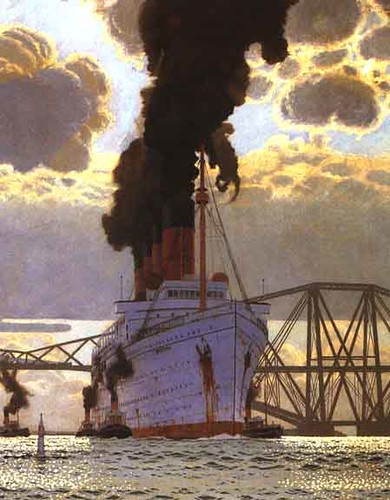 Mauretania Arriving at Rosyth painting by Charles Pears from QM tourist smoking room | by alex.naughton2010