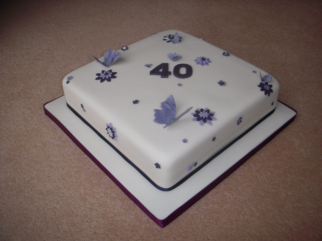 40th Birthday Cake Ivory With Purple Flowers And Butterfl Flickr