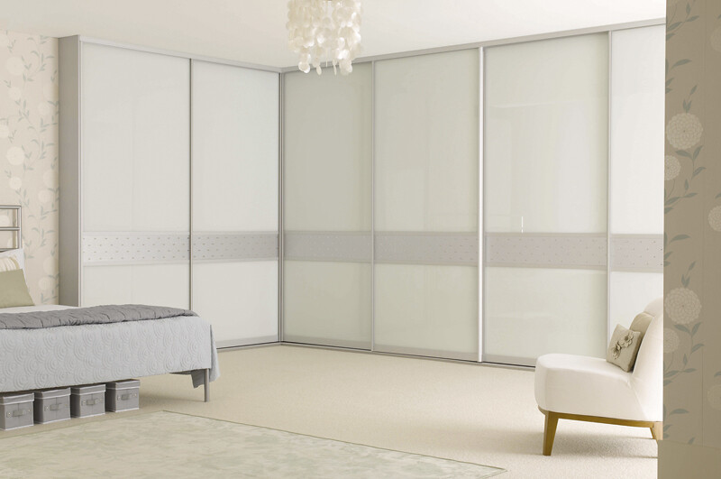 ... Sliderobes fitted sliding wardrobe white glass silver dado | by Sliderobes : sliderobes doors - Pezcame.Com