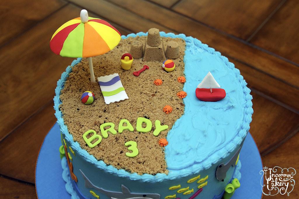 Beach Shark Themed Birthday Cake 8 Inch Chocolate Cake W Flickr