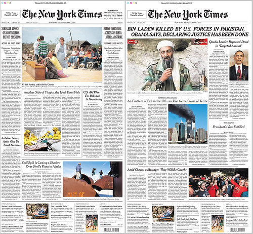 The planned front page for today's NYT at left; at right, the Bin Laden Killed version. (Major props to NYT newsroom for amazingly quick turnaround.) | by nickbilton