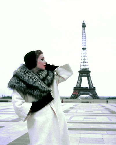 Suzy Parker in Givenchy, photo by Georges Dambier, Eiffel Tower, Paris, 1954 | by skorver1